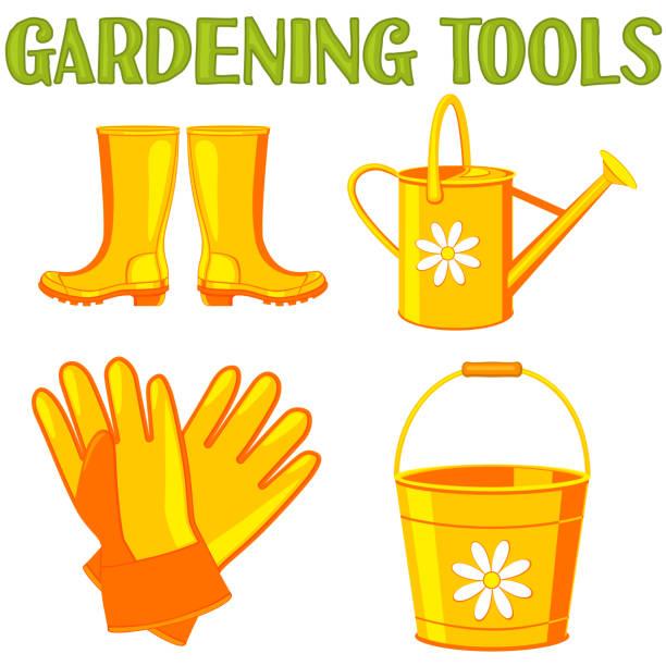 colorful cartoon garden watering 4 elements set. - square foot garden stock illustrations, clip art, cartoons, & icons