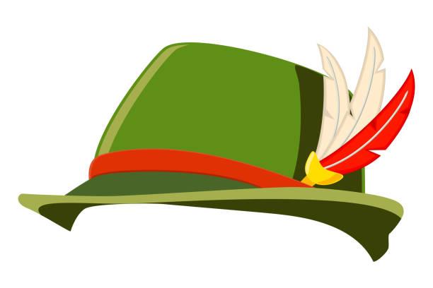 화려한 만화 독일 깃털 모자 - 독일 문화 stock illustrations