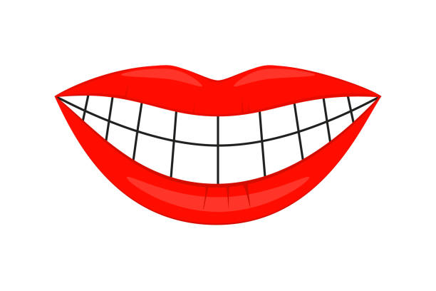 colorful cartoon healthy woman smile - toothy smile stock illustrations