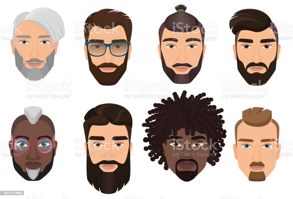 Colorful cartoon hipsters bearded men guys avatars with different hairstyles, beards and mustaches isolated. векторная иллюстрация