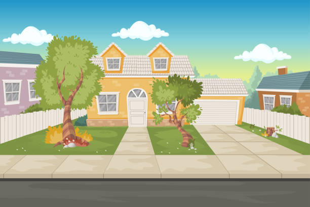 illustrazioni stock, clip art, cartoni animati e icone di tendenza di colorful cartoon houses. suburb neighborhood. - marciapiede