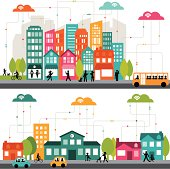 istock Colorful cartoon illustration of a connected city 179761004