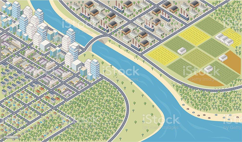 Colorful cartoon isometric city vector art illustration