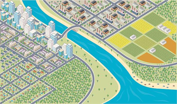 カラフルな漫画アイソメトリック街 - 森林 俯瞰点のイラスト素材/クリップアート素材/マンガ素材/アイコン素材