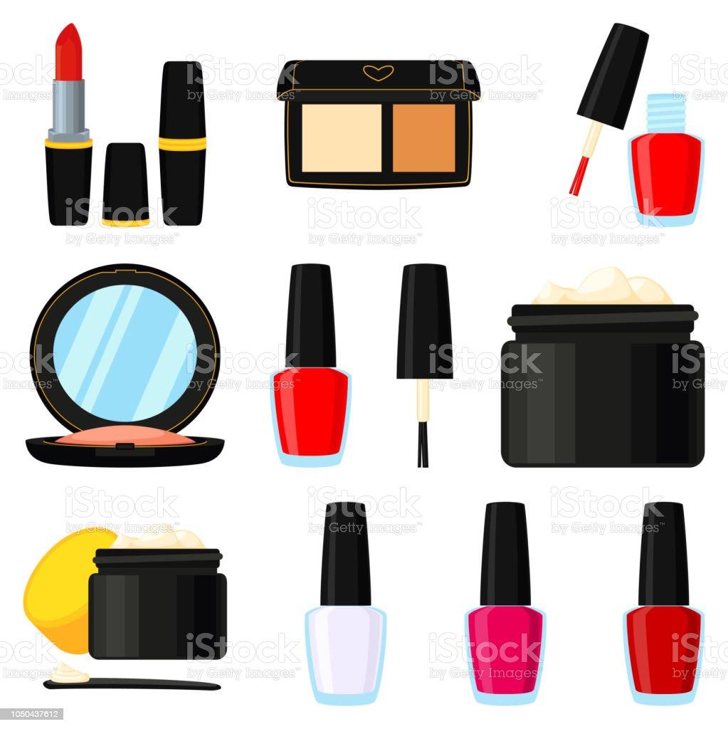 11 colorful cartoon makeup elements vector art illustration