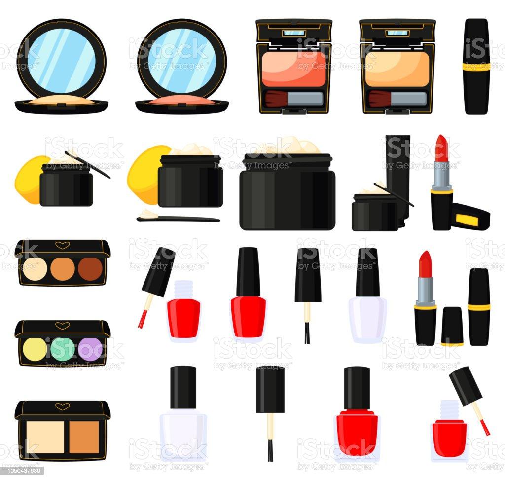 22 colorful cartoon makeup elements vector art illustration