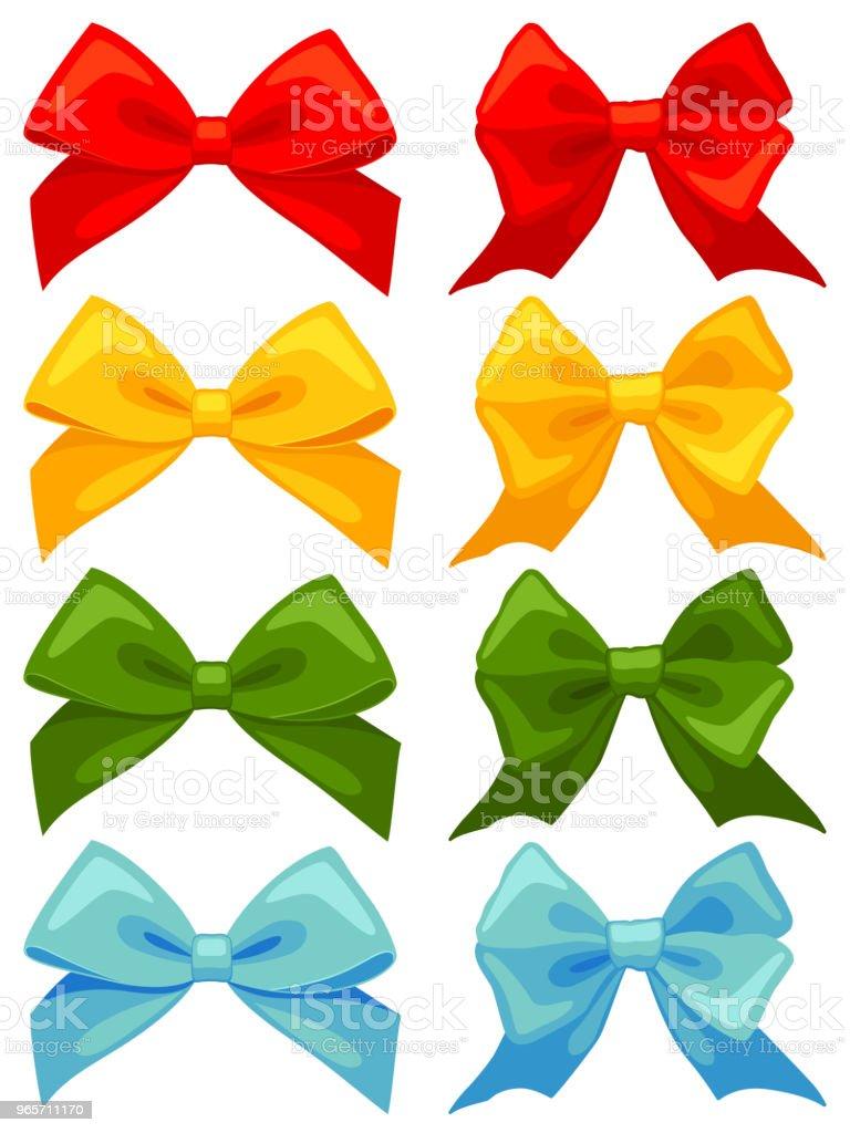 Colorful cartoon multicolor bow set - Royalty-free 2019 stock vector