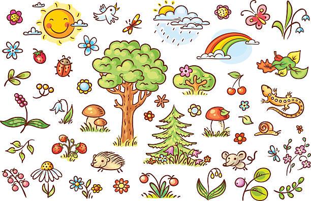 Colorful cartoon nature set, no gradients vector art illustration