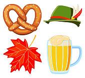 Colorful cartoon oktoberfest 4 elements set. Beer festival collection. Autumn festive vector illustration for icon, emblem, sticker, label, badge, sign, certificate or banner decoration
