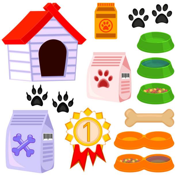 ilustrações de stock, clip art, desenhos animados e ícones de colorful cartoon pet care 13 icon set - dog food