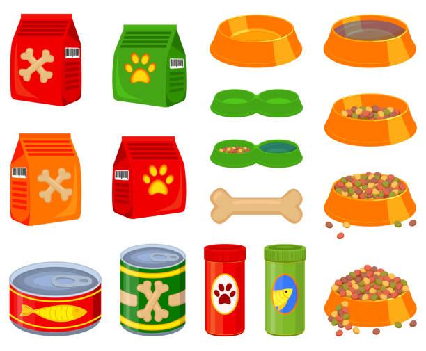 ilustrações de stock, clip art, desenhos animados e ícones de 16 colorful cartoon pet food elements set - dog food