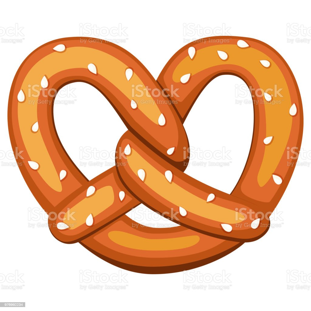 Colorful cartoon pretzel with sesame seed royalty-free colorful cartoon pretzel with sesame seed stock illustration - download image now