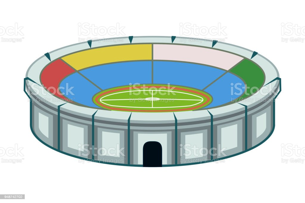 Colorful cartoon sport stadium vector art illustration