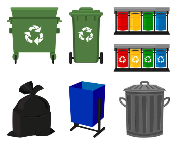 Colorful cartoon trash element collection vector art illustration