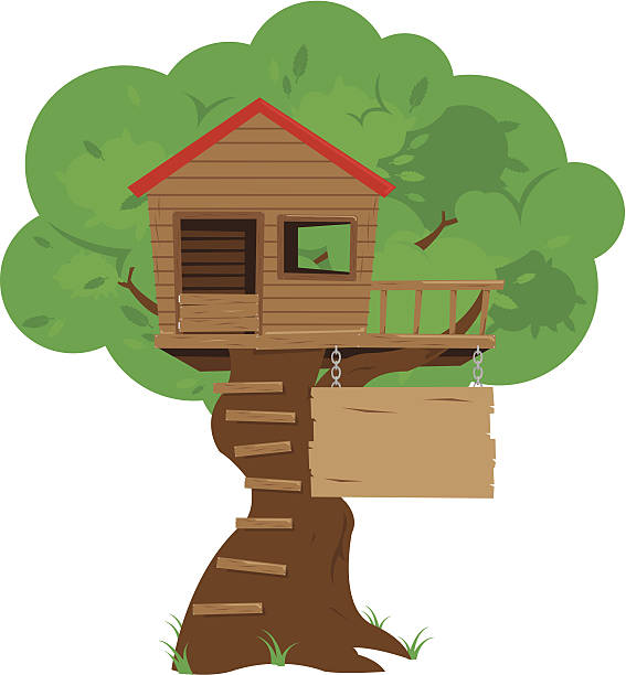 Colorful Cartoon Tree House vector art illustration