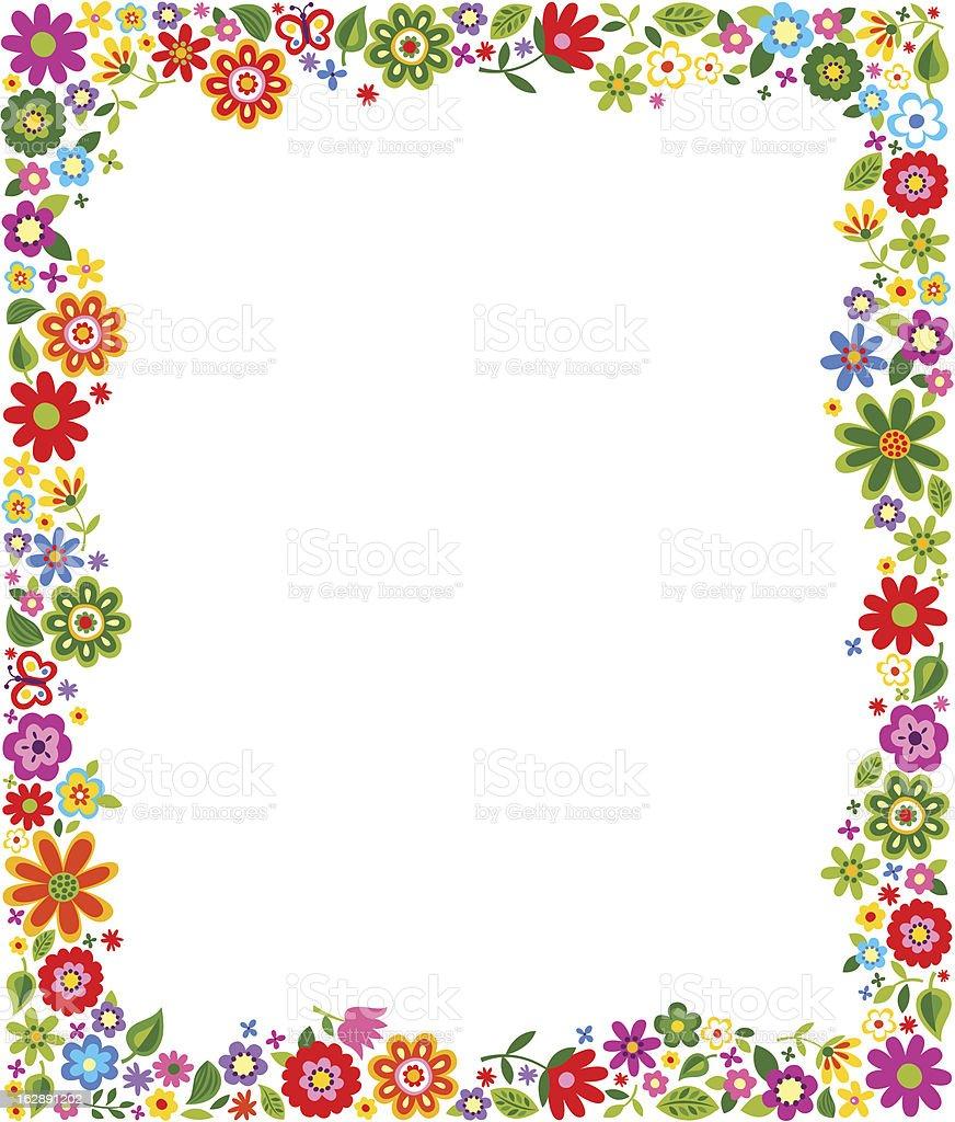 colorful cartoonish floral pattern border frame stock