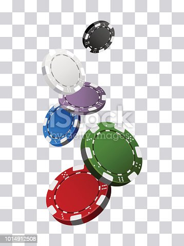 Colorful casino chips falling transparent background