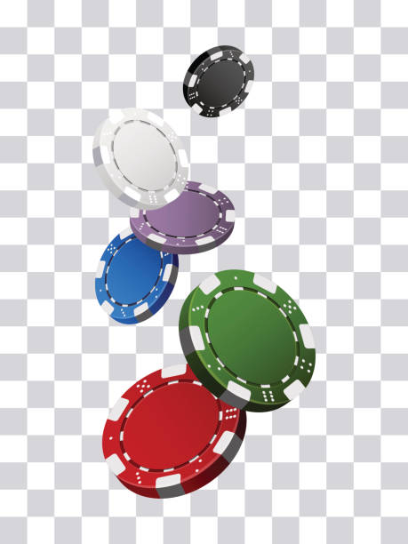 Colorful casino chips falling transparent background Colorful casino chips falling transparent background gambling chip stock illustrations