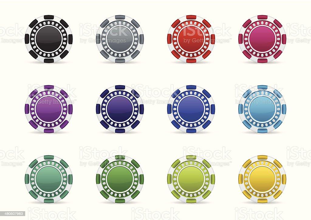 Colorful casino chips icon set vector art illustration