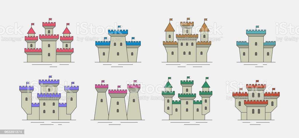 Färgglada slott och fästningar ikoner set - Royaltyfri Avgränsning vektorgrafik