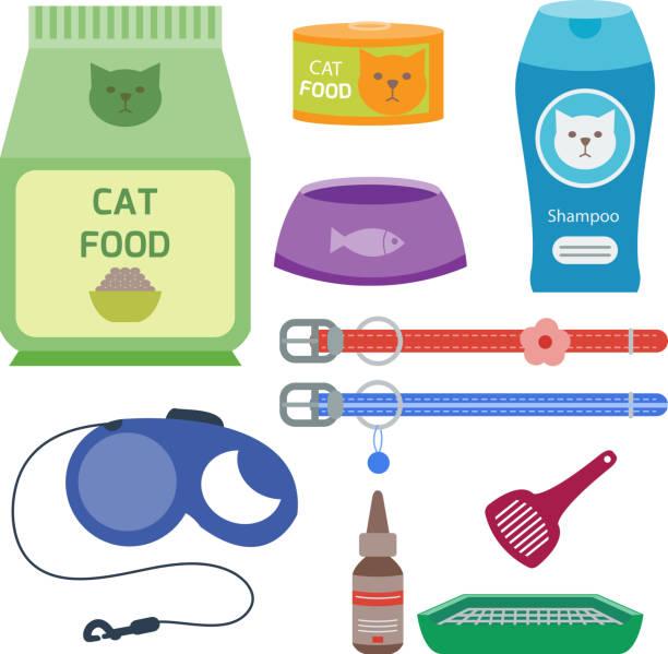 ilustrações de stock, clip art, desenhos animados e ícones de colorful cat accessory cute vector animal icons pet equipment food domestic feline illustration - lata comida gato