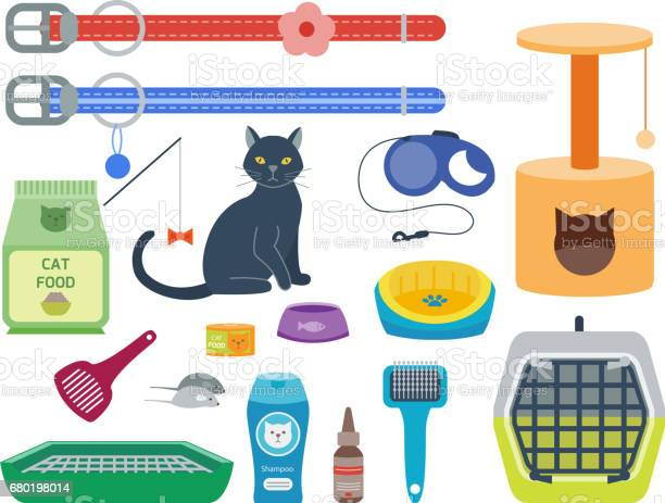 Colorful cat accessory cute vector animal icons pet equipment food vector id680198014?b=1&k=6&m=680198014&s=612x612&h=fxpsvlnlppxze6kr99nkw947rawqowkeehxbcpz8yko=