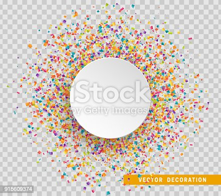 istock Colorful celebration background with confetti. Paper white bubble for text 915609374
