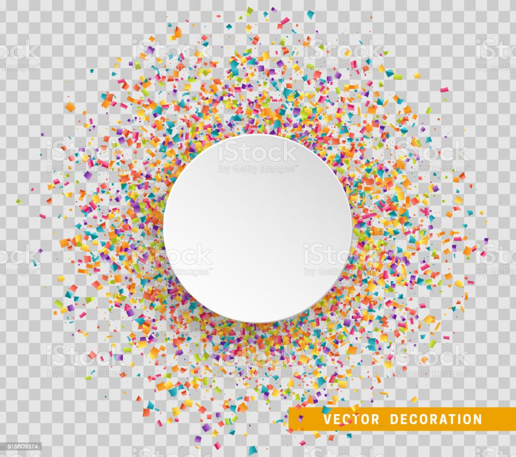 Colorful celebration background with confetti. Paper white bubble for text vector art illustration