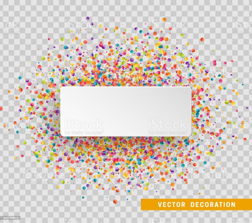 Fondo de celebración colorida con confeti. Burbuja de papel blanco para texto ilustración de fondo de celebración colorida con confeti burbuja de papel blanco para texto y más vectores libres de derechos de abstracto libre de derechos