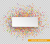 Colorful celebration background with confetti. Paper white bubble for text.