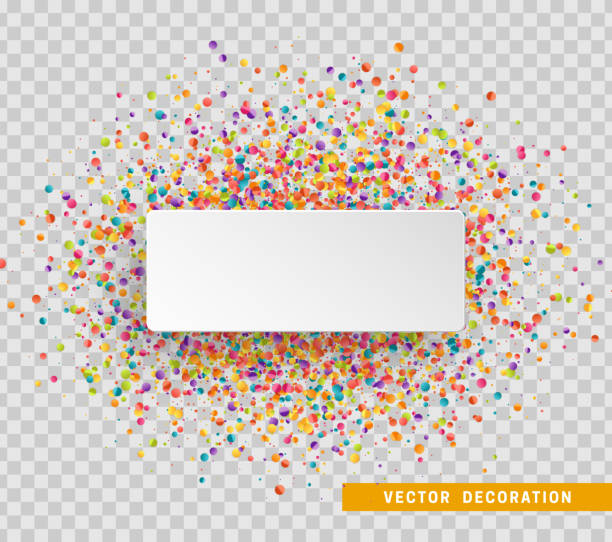 Colorful celebration background with confetti. Paper white bubble for text Colorful celebration background with confetti. Paper white bubble for text. political party stock illustrations