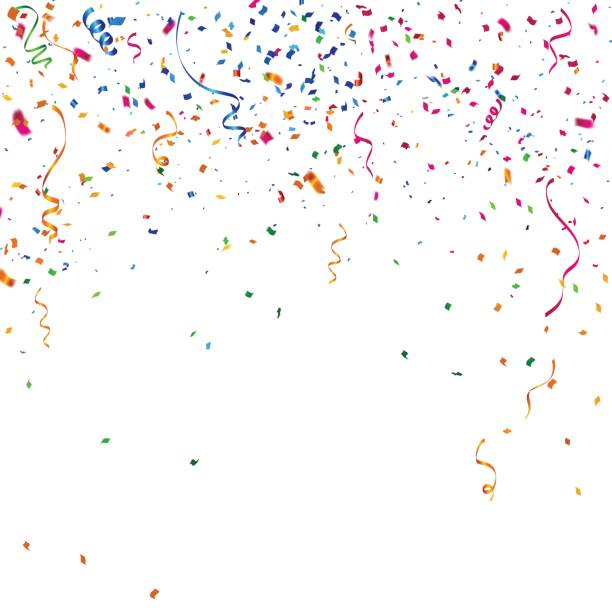 colorful celebration background with confetti. - confetti stock illustrations
