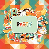 Colorful celebration background with party sticker icons