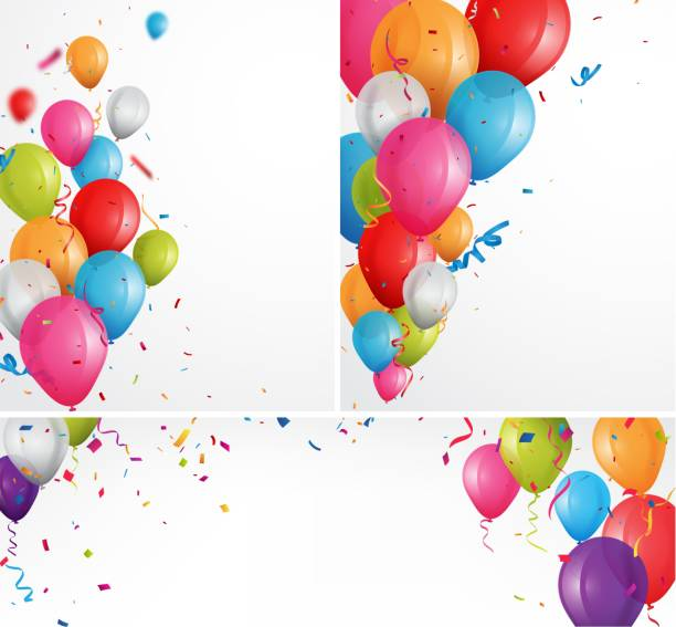 bunte feier ballons hintergrund - ballon stock-grafiken, -clipart, -cartoons und -symbole
