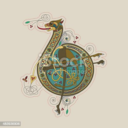 Colorful illumination of a celtic initial letter B with gold on beige/chamois background. This ornamental and playful letter is based big cat with arms, legs, flowers, tendrils and endless knots (celtic knots). The shape of the letters refers to the unziale (medieval type form). Similar illustrations are known from the various illuminations in medieval, celtic books such as the