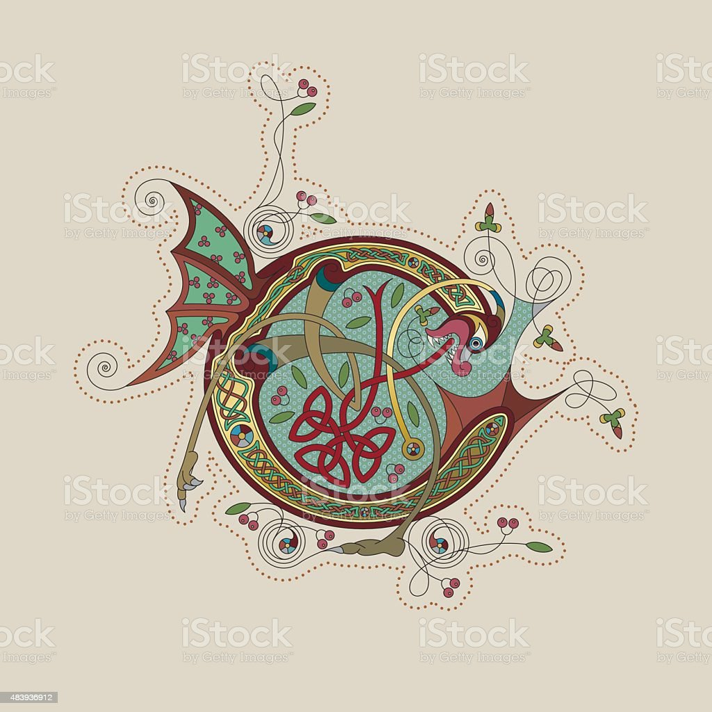 Colorful celtic illumination of the initial leter C vector art illustration