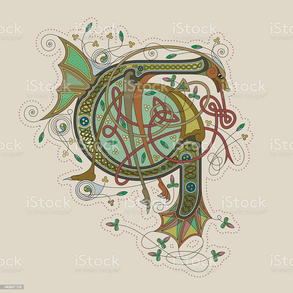 Colorful celtic illumination of the initial leter G vector art illustration