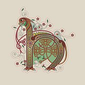 Colorful celtic illumination of the initial leter H
