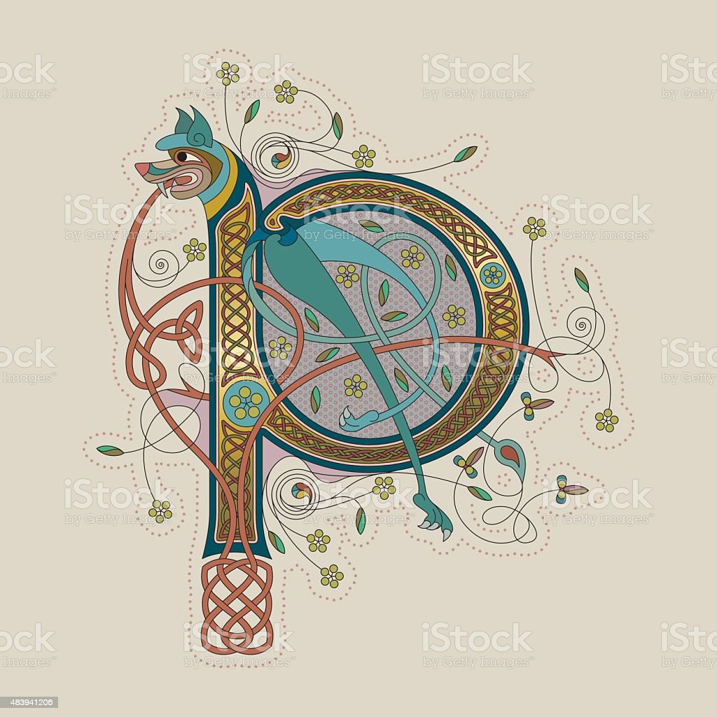 Colorful celtic illumination of the initial leter P vector art illustration