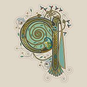 Colorful celtic illumination of the initial leter Q
