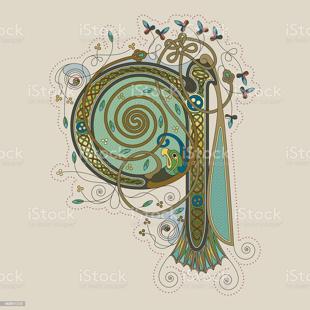 Colorful celtic illumination of the initial leter Q vector art illustration