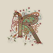 Colorful celtic illumination of the initial leter R