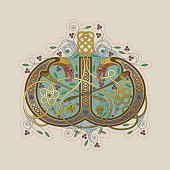 Colorful celtic illumination of the initial leter W