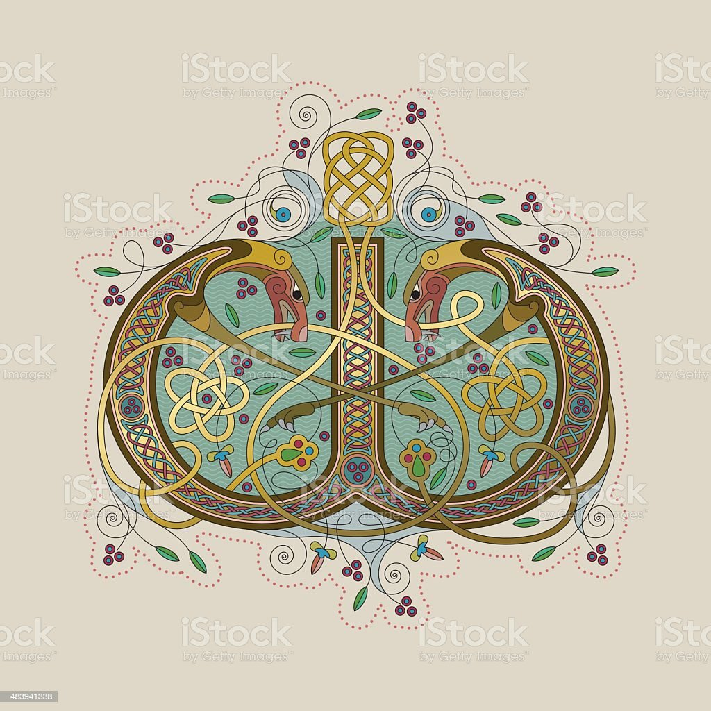 Colorful celtic illumination of the initial leter W vector art illustration