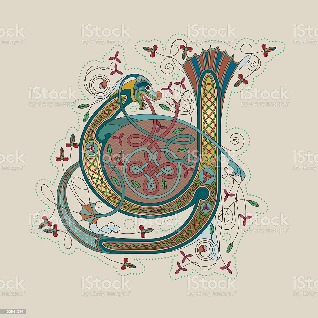Colorful celtic illumination of the initial leter Y vector art illustration