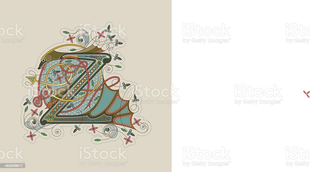 Colorful celtic illumination of the initial leter Z vector art illustration