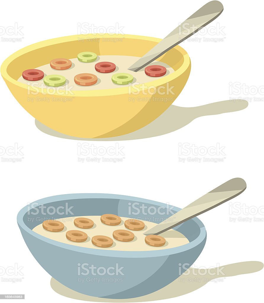Colorful Cereal Bowls for Breakfast vector art illustration