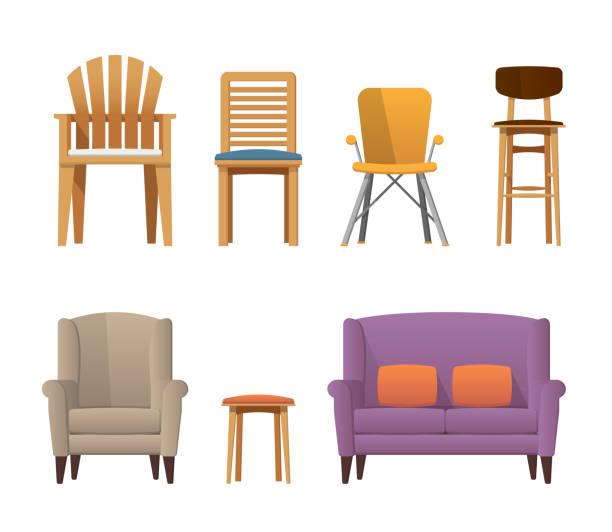 bunte stuhl set - gartensofa stock-grafiken, -clipart, -cartoons und -symbole