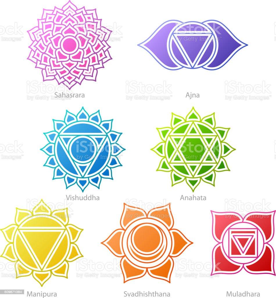 colorful chakras symbols icons set stock vector art more. Black Bedroom Furniture Sets. Home Design Ideas