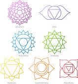Colorful chakras symbols icons set